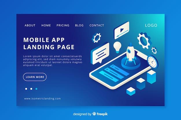 Página de destino de aplicativos para celular Vetor grátis