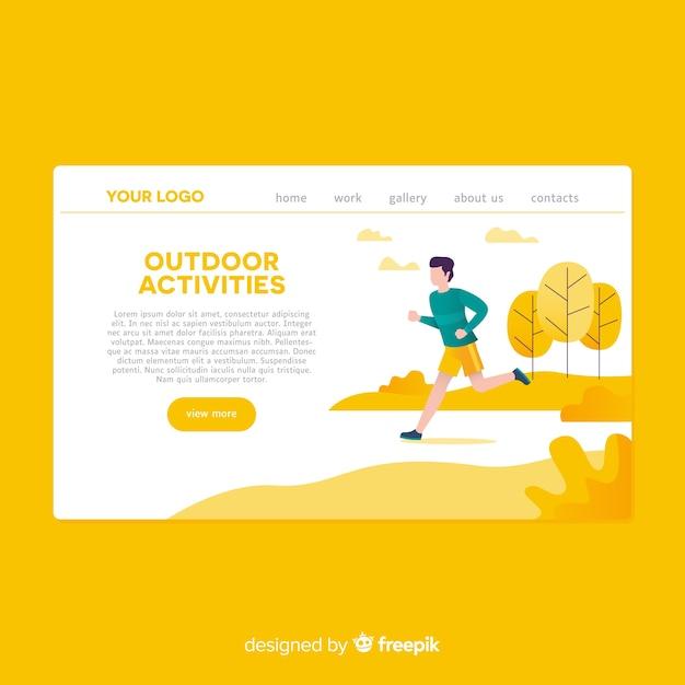Página de destino de atividades ao ar livre desenhada mão Vetor grátis