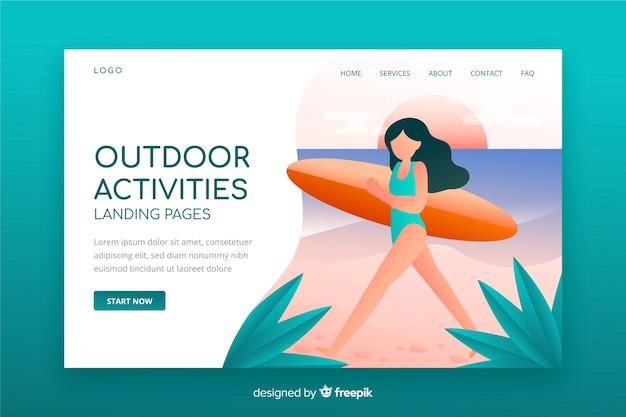 Página de destino de atividades ao ar livre Vetor grátis