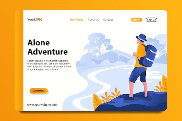 Página de destino de aventura sozinho Vetor Premium