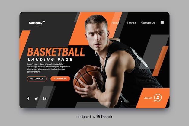 Página de destino de basquete esportivo Vetor grátis