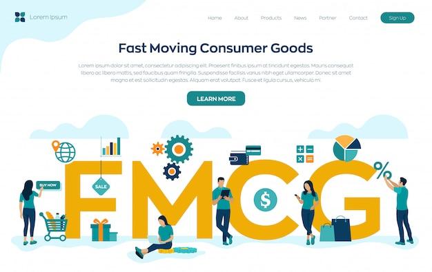 Página de destino de bens de consumo em movimento rápido Vetor grátis