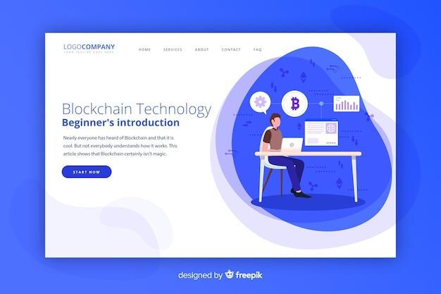 Página de destino de blockchain Vetor grátis