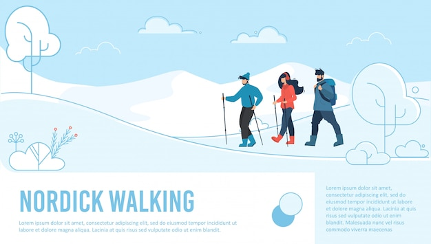 Página de destino de caminhada nórdica Vetor Premium