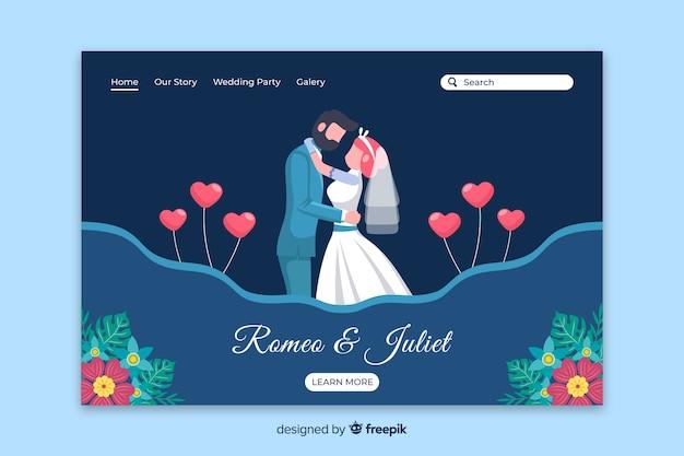Página de destino de casamento de casal plana Vetor grátis