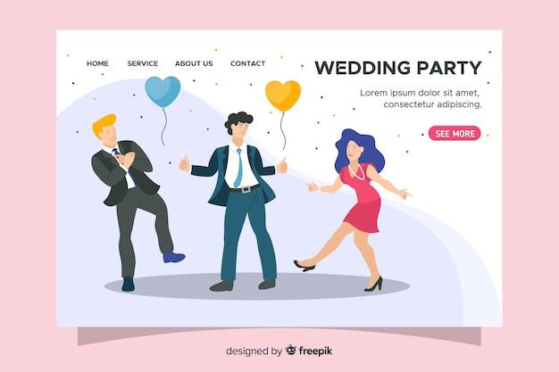 Página de destino de casamento design plano Vetor grátis