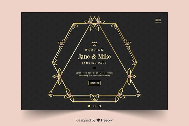 Página de destino de casamento elegante Vetor grátis