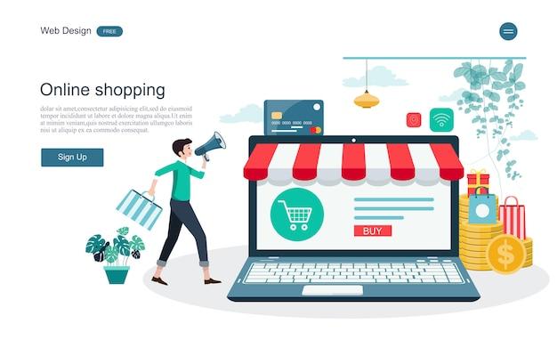 Página de destino de compras e serviços on-line Vetor Premium