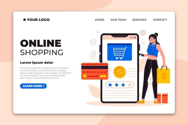 Página de destino de compras on-line de design plano Vetor grátis