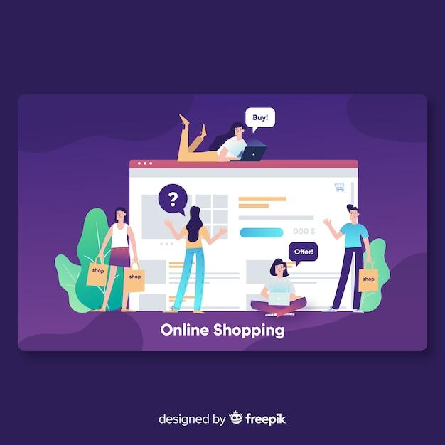 Página de destino de compras online Vetor grátis