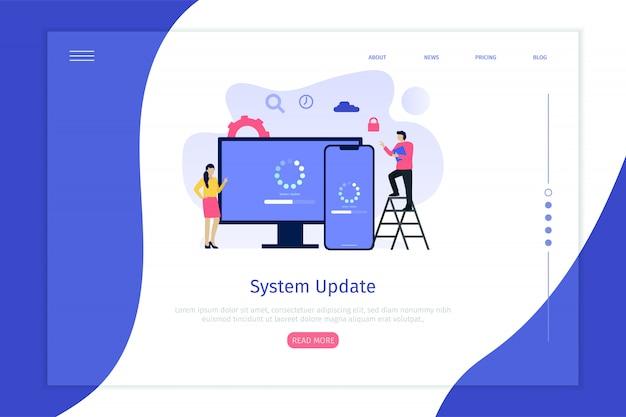 Página de destino de conceito de ilustração de atualização do sistema Vetor Premium