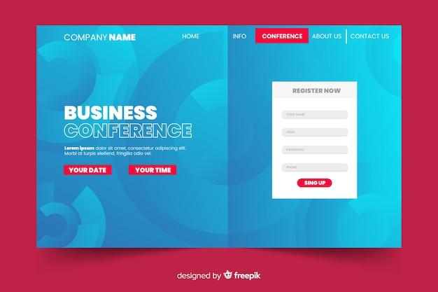 Página de destino de conferência de negócios abstrata Vetor grátis