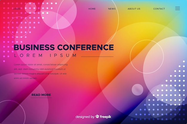 Página de destino de conferência de negócios de formas abstratas plana Vetor grátis