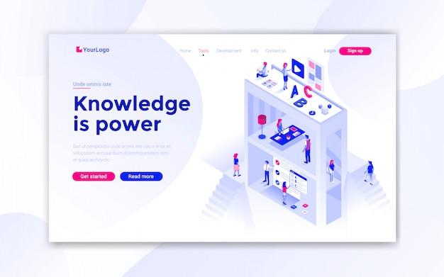 Página de destino de conhecimento é poder Vetor Premium