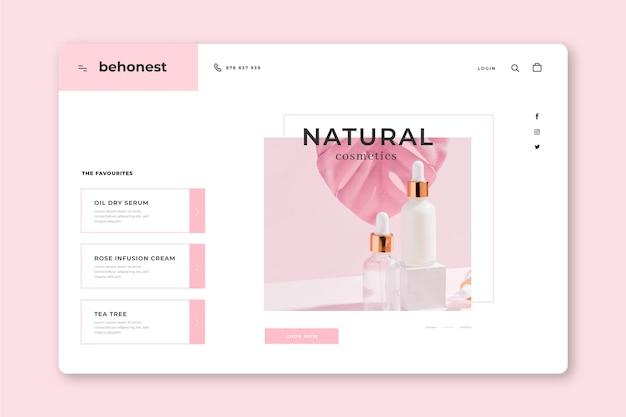 Página de destino de cosméticos da natureza Vetor grátis