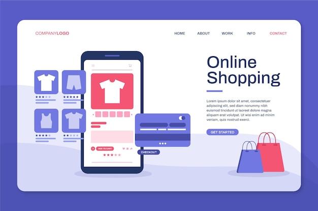 Página de destino de design plano de produtos on-line de compra Vetor grátis