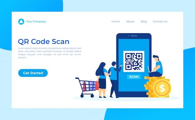 Página de destino de digitalização de código qr Vetor Premium