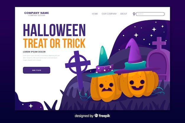 Página de destino de doces ou travessuras de halloween Vetor grátis