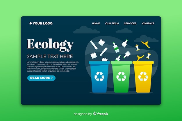 Página de destino de ecologia com caixas coloridas de reciclagem Vetor grátis