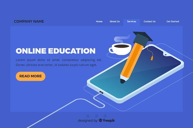 Página de destino de educação on-line isométrica Vetor grátis