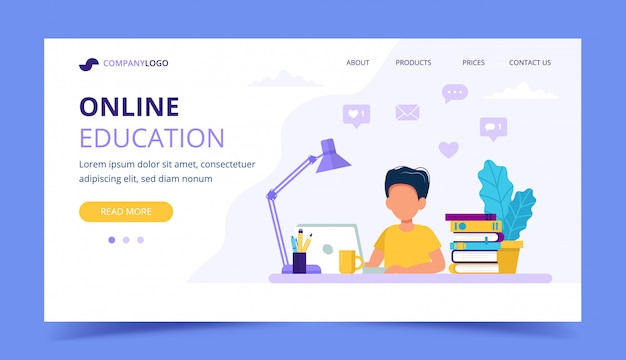 Página de destino de educação on-line para crianças. Vetor Premium