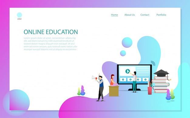 Página de destino de educação on-line Vetor Premium