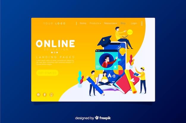 Página de destino de educação on-line Vetor grátis