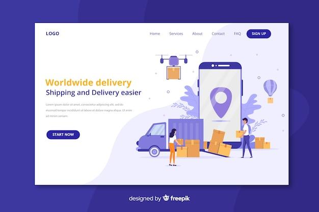 Página de destino de entrega mundial Vetor grátis