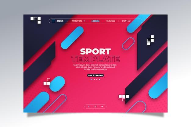 Página de destino de esporte de estilo gradiente Vetor Premium