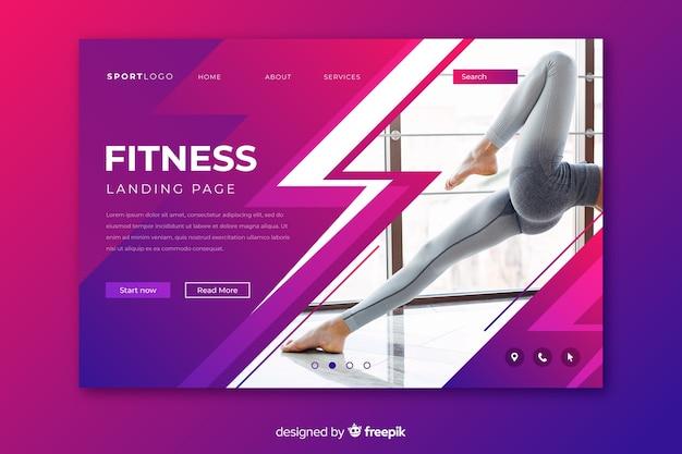 Página de destino de esporte fitness com imagem Vetor grátis