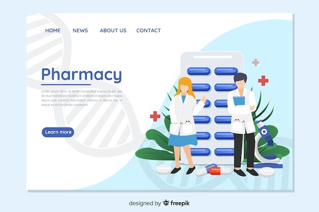 Página de destino de farmácia colorida Vetor Premium
