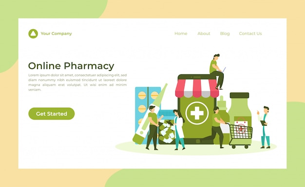 Página de destino de farmácia on-line Vetor Premium