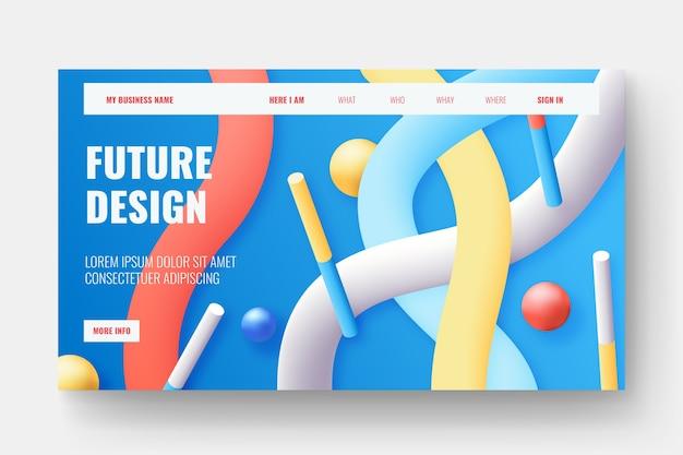 Página de destino de formas 3d coloridas Vetor grátis