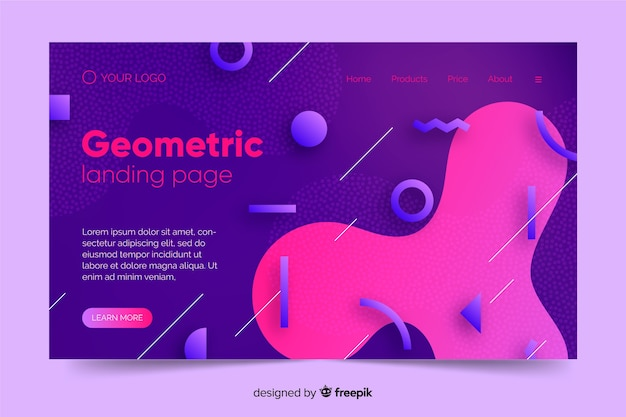 Página de destino de formas geométricas de gradiente Vetor grátis