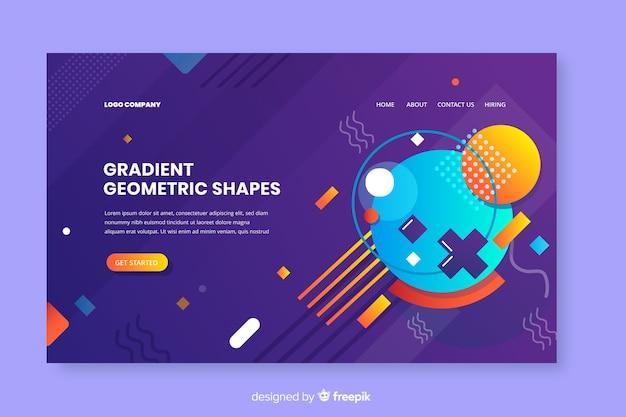Página de destino de formas geométricas gradientes Vetor grátis