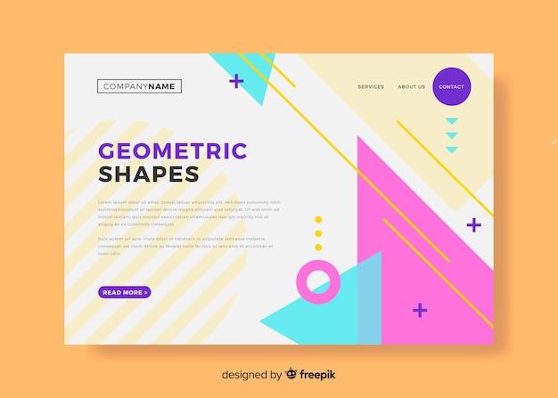 Página de destino de formas geométricas Vetor grátis