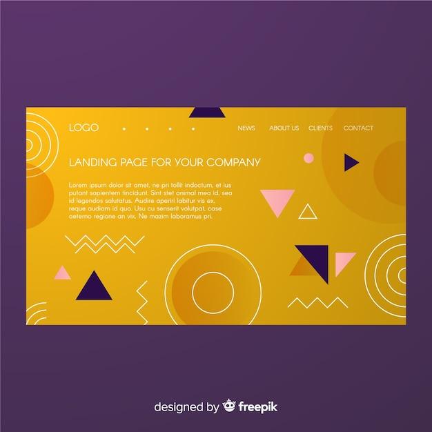 Página de destino de formas gradientes geométricas Vetor grátis