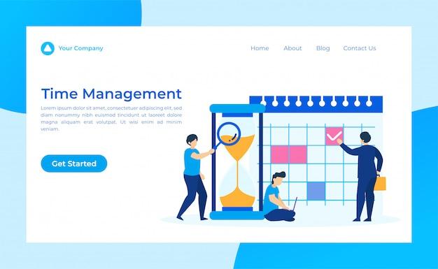 Página de destino de gerenciamento de tempo Vetor Premium