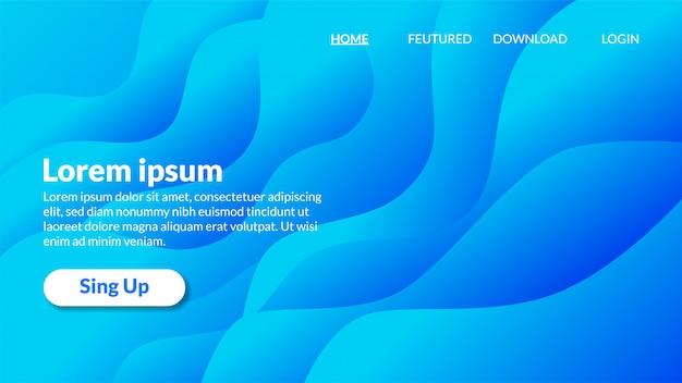 Página de destino de gradiente de fundo azul ondulado moderno Vetor Premium