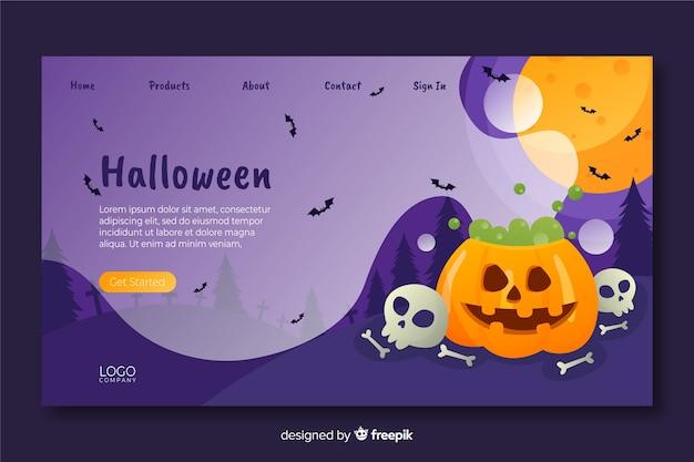 Página de destino de halloween de design plano Vetor grátis