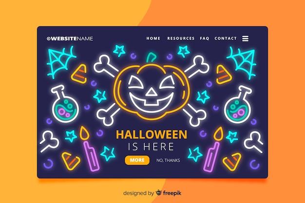 Página de destino de halloween de néon Vetor grátis
