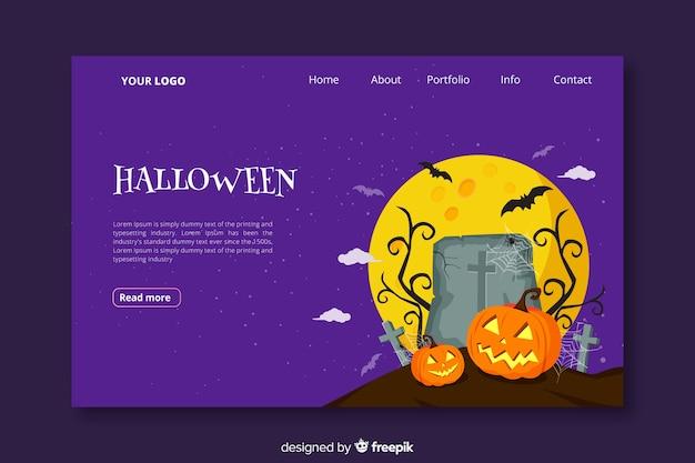 Página de destino de halloween em design plano Vetor grátis