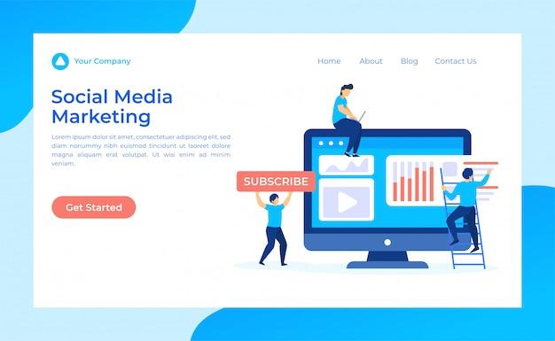 Página de destino de marketing de mídia social Vetor Premium