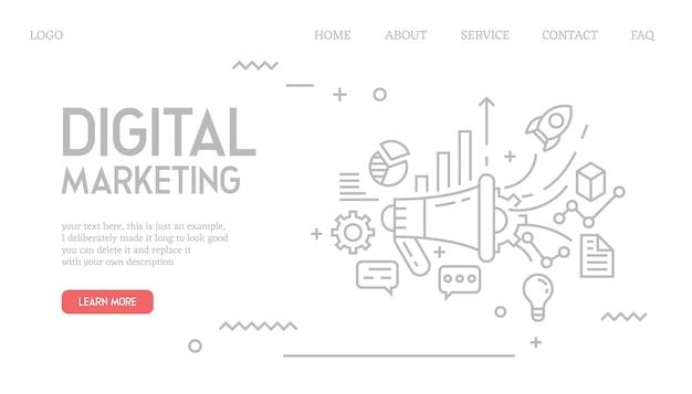 Página de destino de marketing digital no estilo doodle Vetor Premium