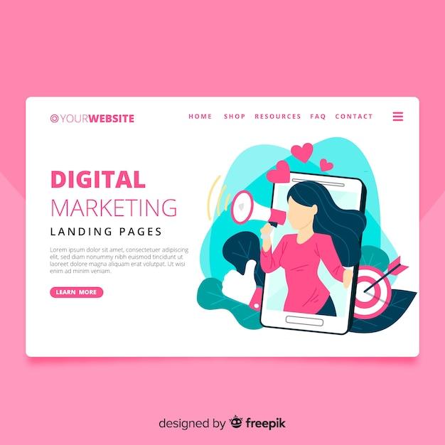 Página de destino de marketing digital Vetor grátis