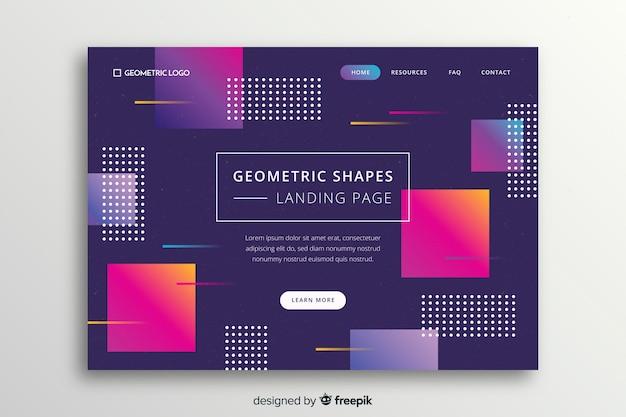 Página de destino de memphis com formas geométricas gradientes Vetor grátis