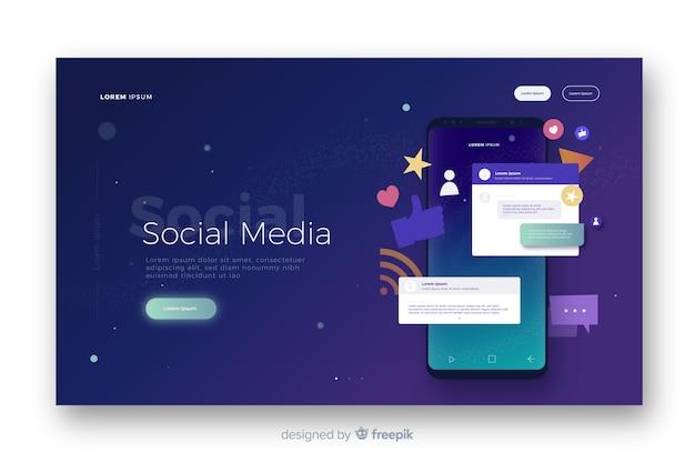 Página de destino de mídia social Vetor grátis