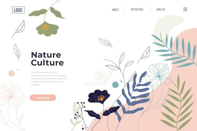 Página de destino de natureza desenhada de mão de modelo Vetor grátis