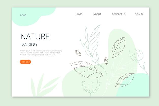 Página de destino de natureza desenhada de mão Vetor grátis