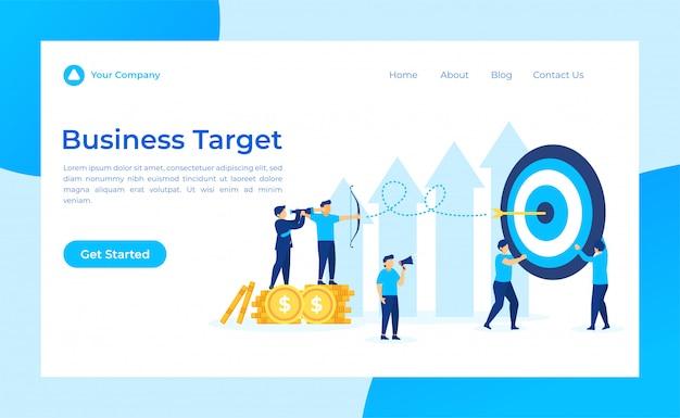 Página de destino de negócios alvo, líder procurando alvo através de binóculos. Vetor Premium